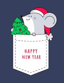 Buon natale capodanno 2020. ratto, topo, topi con albero di natale festivo