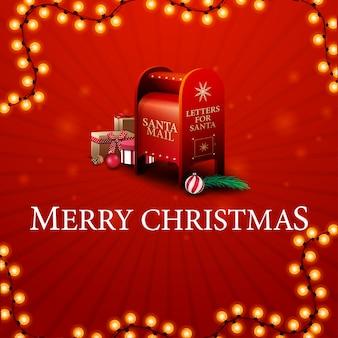 Buon natale, cartolina d'auguri rossa con letterbox di babbo natale con regali