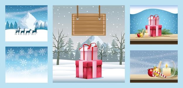 Buon natale cartoline con scene di paesaggi innevati illustrazione vettoriale design