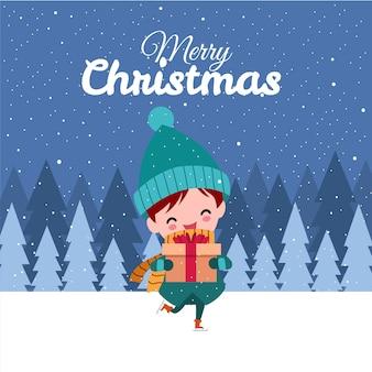 Buon natale con il simpatico ragazzo disegnato a mano kawaii indossando il costume invernale