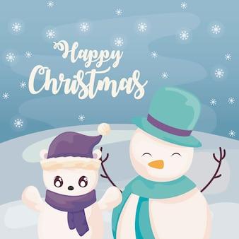 Buon natale con pupazzo di neve e orso polare sul paesaggio invernale