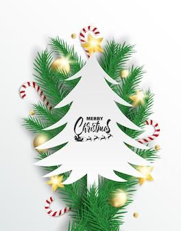 Buon natale. design con albero di natale, palline, bastoncini di zucchero e stelle dorate che emettono luce
