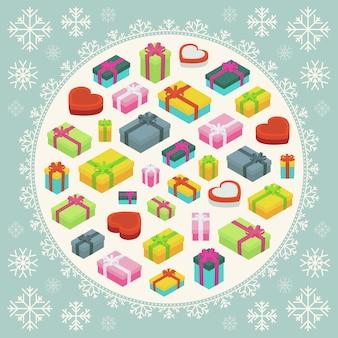 Buon natale disegno vettoriale decorazione fatta di scatole regalo e fiocchi di neve