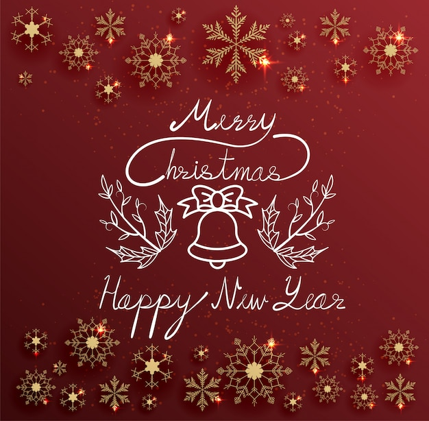 Buon natale e buon anno di scrittura del testo della mano su fondo rosso con il fiocco della neve dell'oro