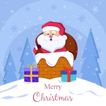 Buon natale e cartoline di felice anno nuovo con babbo natale sul tetto con regali pronti a scendere attraverso le illustrazioni di camino in mattoni su blu
