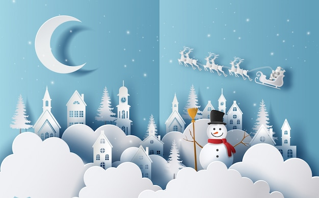 Buon natale e felice anno nuovo 2020 concetto, pupazzo di neve in un villaggio e fiocchi di neve sullo sfondo.