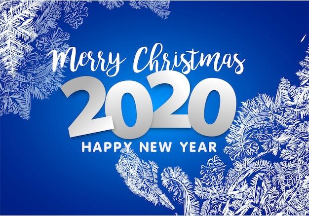 Buon natale e felice anno nuovo 2020. decorazione dei fiocchi di neve