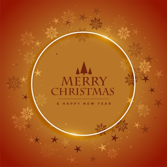 Buon natale e felice anno nuovo auguri con fiocchi di neve cornice design marrone