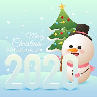 Buon natale e felice anno nuovo auguri con simpatico pupazzo di neve