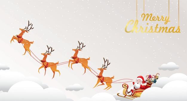 Buon natale e felice anno nuovo. babbo natale è una slitta trainata da renne con un sacco