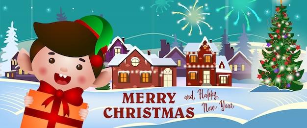 Buon natale e felice anno nuovo banner con allegro folletto
