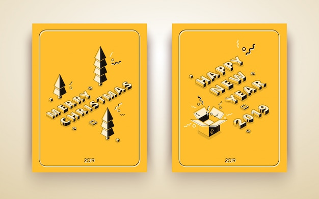 Buon natale e felice anno nuovo biglietto di auguri isometrica, poster di vacanza