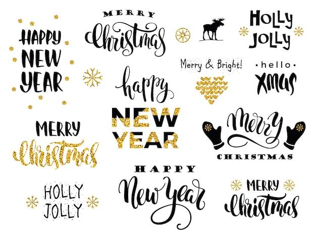 Buon natale e felice anno nuovo. calligrafia di lettering vettoriale