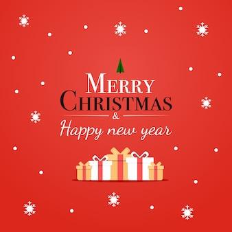 Buon natale e felice anno nuovo carta premium in inverno e tipografia moderna