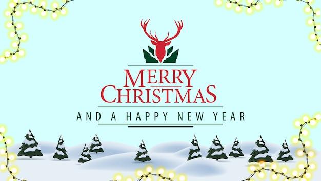 Buon natale e felice anno nuovo, cartolina con paesaggio invernale dei cartoni animati e bellissimo logo di saluto con i cervi