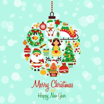 Buon natale e felice anno nuovo con elementi a forma di palla di composizione