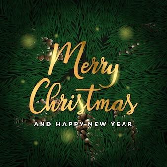 Buon natale e felice anno nuovo con pino 3d e testo dorato