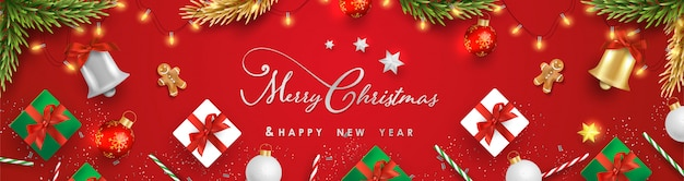 Buon natale e felice anno nuovo con realistici oggetti festivi