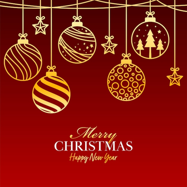 Buon natale e felice anno nuovo concetto con appendere palline dorate e stelle su sfondo rosso.