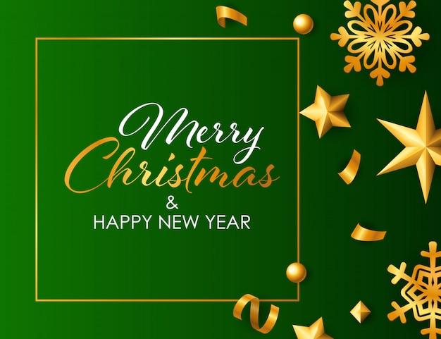 Buon natale e felice anno nuovo design con decorazioni dorate