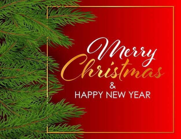 Buon natale e felice anno nuovo design con rami di abete