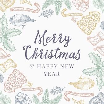 Buon natale e felice anno nuovo modello astratto sfondo, invito o cartolina d'auguri con retro tipografia.