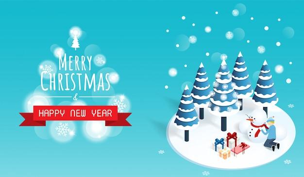Buon natale e felice anno nuovo neve foresta sfondo