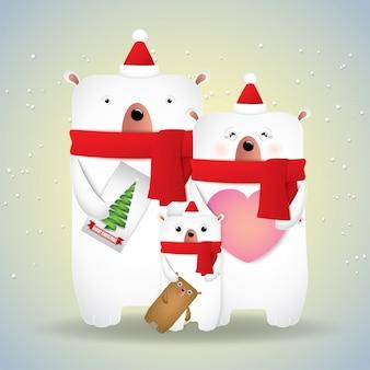 Buon natale e felice anno nuovo orsi famiglia carino.