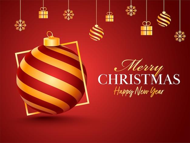 Buon natale e felice anno nuovo poster di celebrazione con palline, scatole regalo e fiocchi di neve appesi su sfondo rosso.