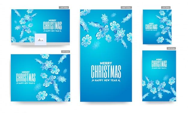 Buon natale e felice anno nuovo poster e modello impostato con fiocchi di neve di carta decorati su sfondo blu.