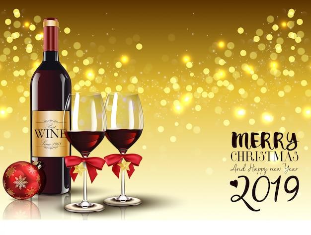Buon natale e felice anno nuovo sfondo 2019