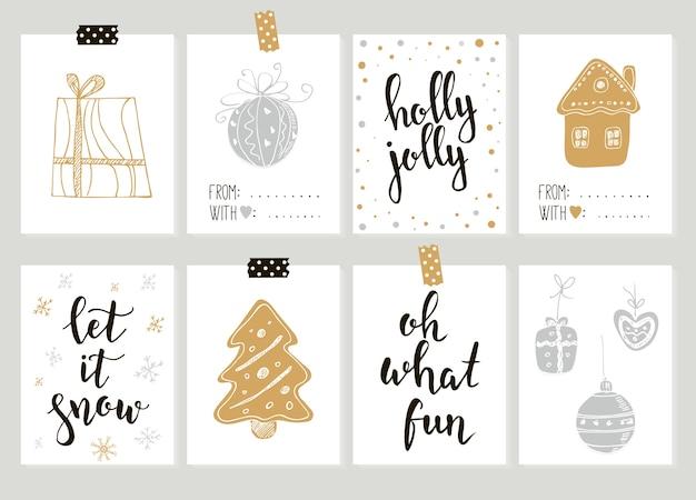 Buon natale e felice anno nuovo tag regalo vintage e carte con calligrafia. lettere scritte a mano. elementi di design disegnati a mano. articoli stampabili
