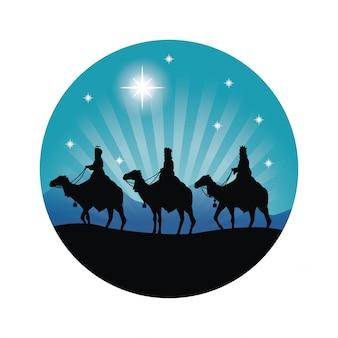 Buon natale e sacro concetto di famiglia rappresentato da tre saggi sull'icona di cammelli. silhouette e illustrazione piatta.