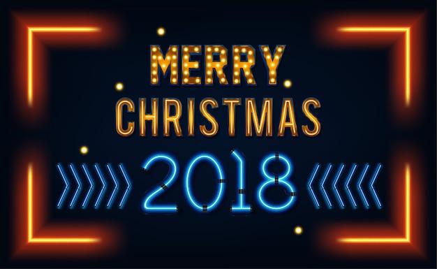 Buon natale e un felice anno nuovo. cartolina d'auguri o modello di invito in stile neon