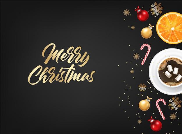 Buon natale, elementi di design decorativo, inverno, sfondo di celebrazione, luci realistiche, caffè e marshmallow, caramelle, palla rossa e arancione