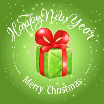 Buon natale, felice anno nuovo lettering con scatola regalo