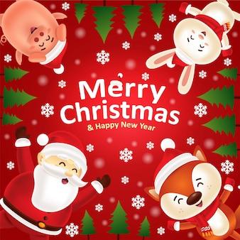 Buon natale felice anno nuovo! santa e simpatici animali nella scena della neve di natale
