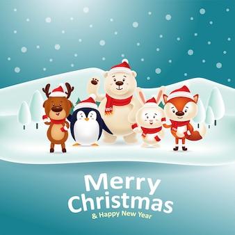 Buon natale felice anno nuovo! simpatico raduno di animali accanto al lago di neve