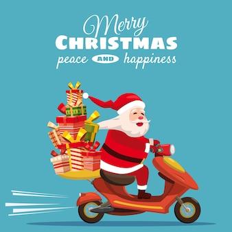 Buon natale felice babbo natale con una confezione regalo in sella a uno scooter