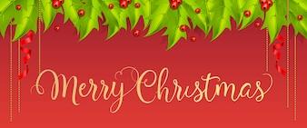 Buon Natale lettering con bacche e foglie di vischio