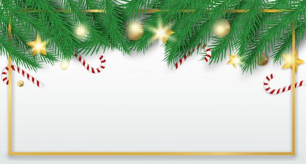 Buon natale. progetti con l'albero di natale, le palle e le canne di caramella su fondo bianco.