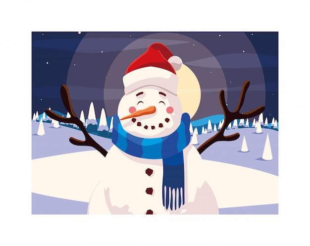 Buon natale pupazzo di neve