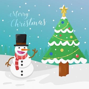 Buon natale saluto illustrazione piatta con pupazzo di neve e albero di natale.