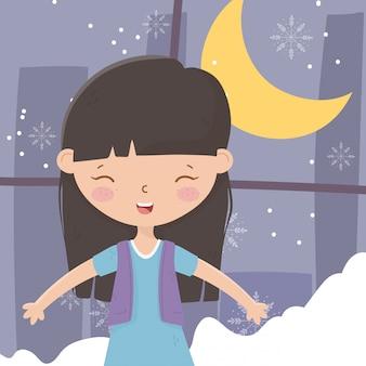 Buon natale sorridente di celebrazione della luna di notte della finestra della neve della ragazza
