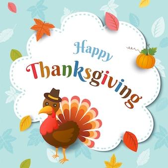 Buon ringraziamento con tacchino e foglia d'autunno sul telaio