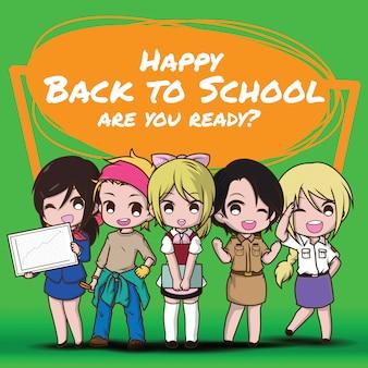 Buon ritorno a scuola., bambini in tuta da lavoro