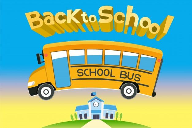 Buon ritorno a scuola con l'autobus e un nuovo semestre.