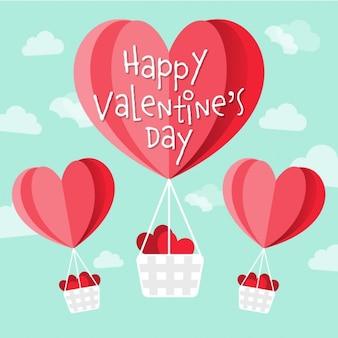 Buon san valentino a forma di cuore vettore mongolfiere nel cielo