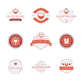 Buon san valentino biglietti d'auguri, etichette, badge
