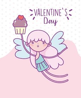 Buon san valentino, carino cupido volare con cupcake